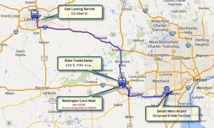 Michigan Flyer Schedule Route - Us 23 map