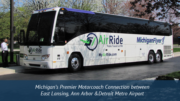 Michigan's Luxury Motorcoach Connection between East Lansing, Ann Arbor & Detroit Metro Airport